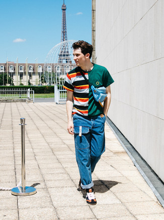 Which Jeans To Wear With a Multi colored Crew-neck T-shirt For Men: Go for a multi colored crew-neck t-shirt and jeans for comfort dressing with an urban twist. To add a hint of stylish effortlessness to your getup, add multi colored leather high top sneakers.