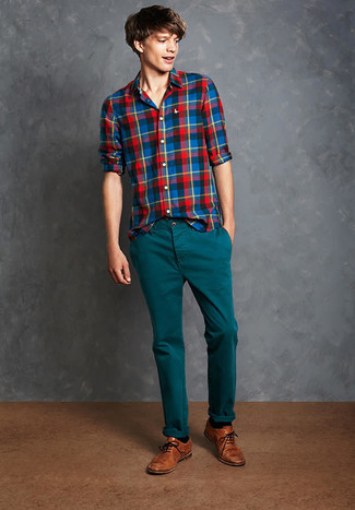 How to wear: multi colored plaid long sleeve shirt, teal chinos, brown leather brogues, black socks