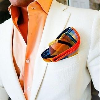 How to wear: multi colored plaid pocket square, orange dress shirt, white blazer