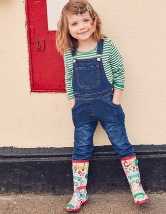 How to wear: multi colored rain boots, blue denim overalls, green horizontal striped t-shirt