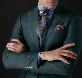 How to wear: purple print pocket square, multi colored plaid tie, white and blue vertical striped dress shirt, dark green blazer