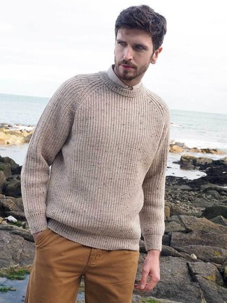 How to wear: mustard chinos, beige dress shirt, beige knit crew-neck sweater