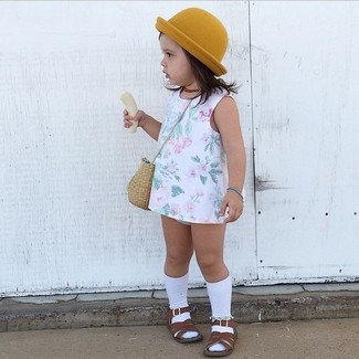 How to wear: white socks, mustard hat, dark brown sandals, white floral dress