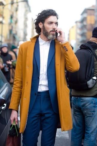 Men's Mustard Overcoat, Blue Suit, White Dress Shirt, Silver Watch