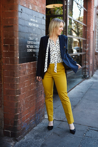 How to wear: black suede pumps, mustard skinny pants, white and black polka dot button down blouse, navy double breasted blazer