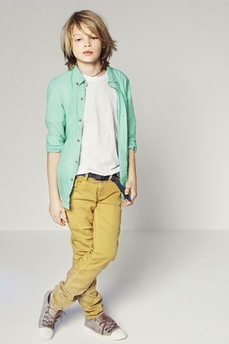 How to wear: grey sneakers, mustard trousers, white t-shirt, mint long sleeve shirt