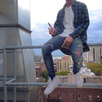 How to wear: navy and green plaid long sleeve shirt, white crew-neck t-shirt, blue ripped skinny jeans, white high top sneakers
