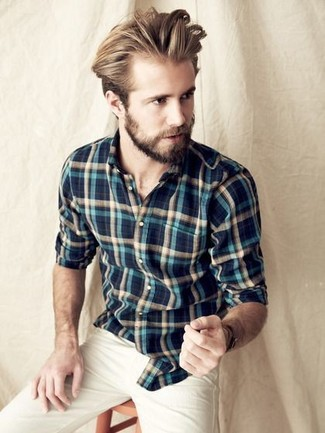 How to wear: navy and green plaid long sleeve shirt, beige chinos