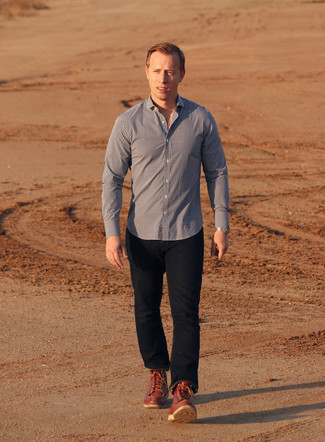 How to wear: navy and white gingham long sleeve shirt, navy jeans, red leather work boots