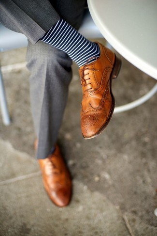 How to wear: navy and white horizontal striped socks, tan leather brogues, grey dress pants