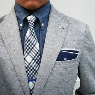 How to wear: navy and white print pocket square, navy and white plaid tie, blue denim shirt, grey wool blazer
