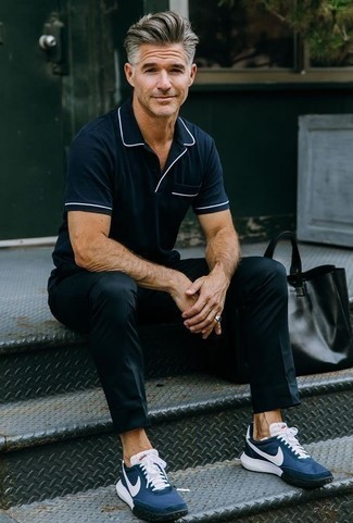 Men's Looks & Outfits: What To Wear Casually: A navy polo and black chinos will convey this relaxed and dapper vibe. Navy athletic shoes are an easy way to inject a sense of stylish casualness into your look.