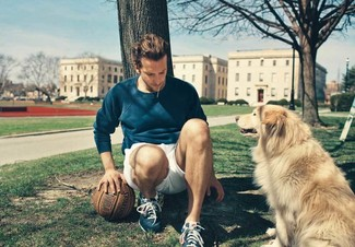 How to wear: navy athletic shoes, white shorts, navy crew-neck sweater