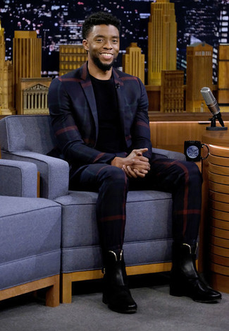 How to wear: navy plaid blazer, black crew-neck t-shirt, navy check dress pants, black leather chelsea boots