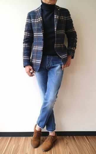 How to wear: navy plaid wool blazer, black turtleneck, blue jeans, brown suede derby shoes