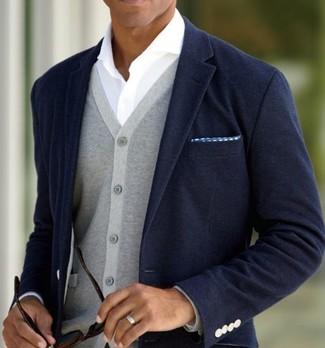 How to wear: navy blazer, grey cardigan, white long sleeve shirt, blue polka dot pocket square