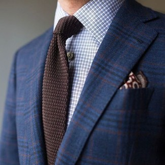 How to wear: navy plaid wool blazer, light blue check dress shirt, dark brown knit tie, burgundy print pocket square