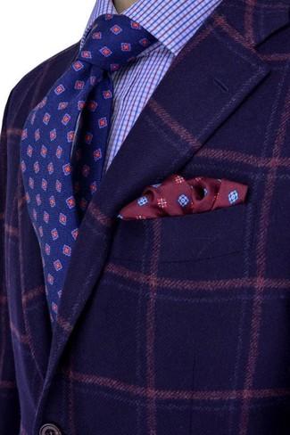 How to wear: navy plaid wool blazer, light blue check dress shirt, navy print tie, burgundy print pocket square