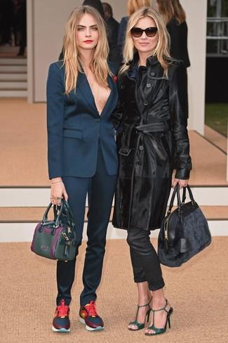 How to wear: navy blazer, navy dress pants, navy athletic shoes, dark green leather handbag