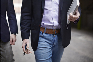 How to wear: navy blazer, purple long sleeve shirt, blue jeans, brown leather belt