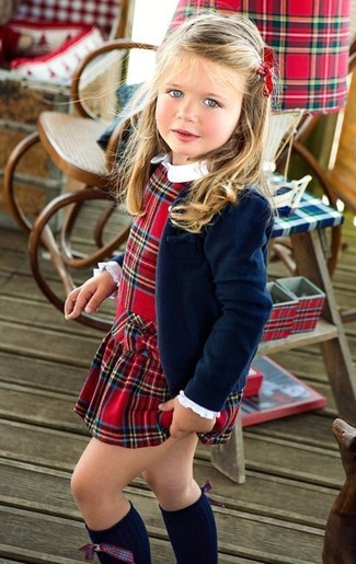 How to wear: navy blazer, red plaid dress, navy knee high socks