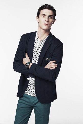 How to wear: navy blazer, white and black print polo, teal chinos