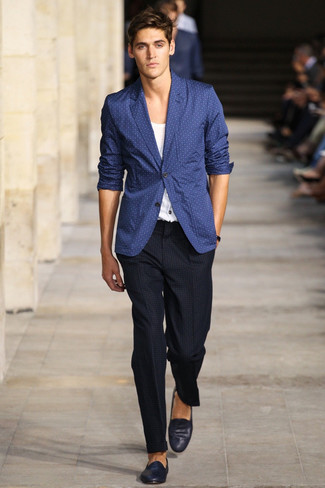 How To Wear a Blazer With Navy and White Loafers | Men's Fashion