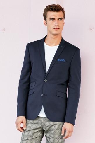How to wear: navy blazer, white crew-neck t-shirt, grey print chinos, blue polka dot pocket square