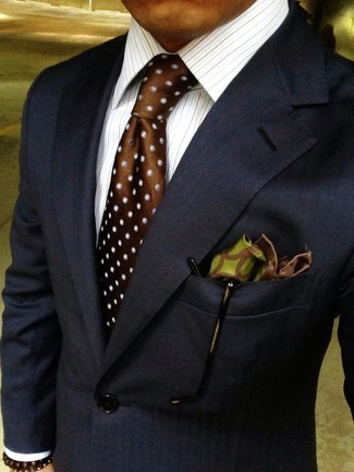 How to wear: navy blazer, white vertical striped dress shirt, brown polka dot silk tie, olive print silk pocket square