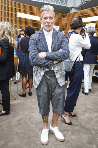 Nick Wooster wearing Navy Tweed Blazer, White Dress Shirt, Grey Shorts, White Leather Derby Shoes
