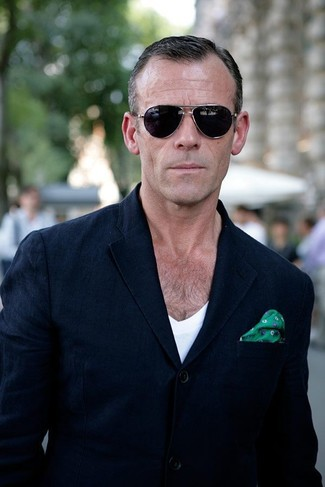 How to wear: navy blazer, white v-neck t-shirt, green print silk pocket square