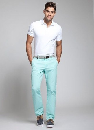 How to wear: grey canvas belt, navy canvas boat shoes, mint chinos, white polo