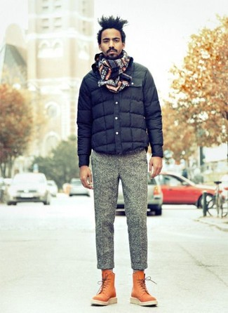 How to wear: navy quilted bomber jacket, grey wool dress pants, tobacco leather casual boots, navy fair isle scarf