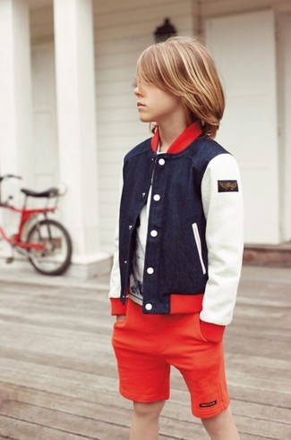 How to wear: navy bomber jacket, white t-shirt, red shorts