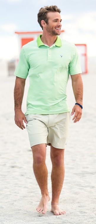How to wear: navy bracelet, beige shorts, mint horizontal striped polo