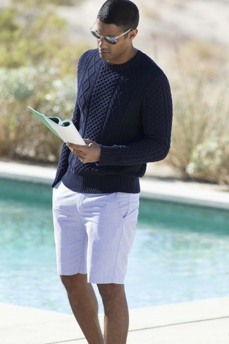 How to wear: navy cable sweater, white shorts