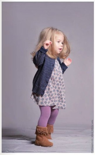 How to wear: navy cardigan, pink floral dress, tobacco boots, light violet tights