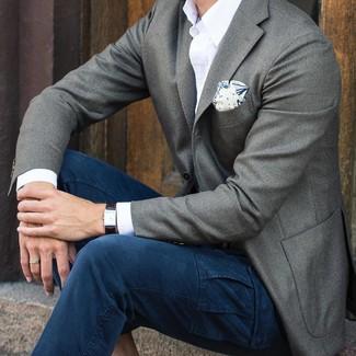 How to wear: white print pocket square, navy cargo pants, white long sleeve shirt, grey wool blazer