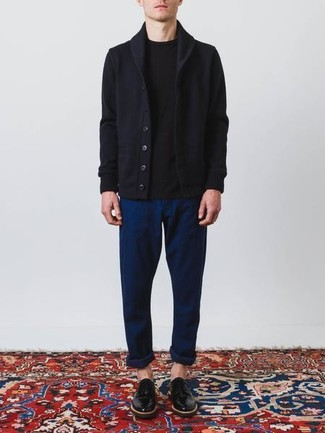How to wear: black leather derby shoes, navy chinos, black crew-neck t-shirt, navy shawl cardigan