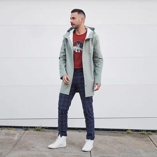 Men's White High Top Sneakers, Navy Plaid Chinos, Burgundy Print Crew-neck Sweater, Mint Raincoat