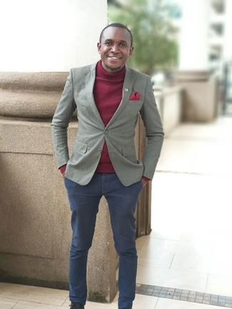 How to wear: red pocket square, navy chinos, burgundy turtleneck, grey blazer