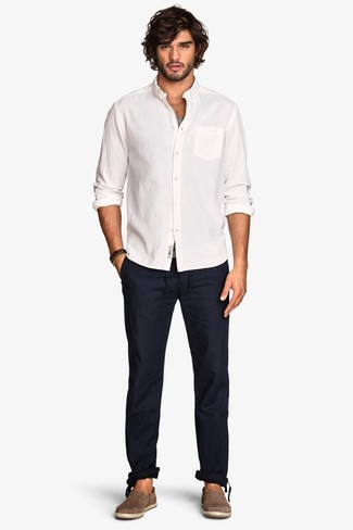 How to wear: brown suede espadrilles, navy chinos, grey tank, white long sleeve shirt