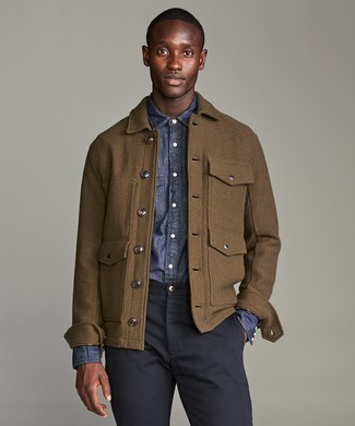 How to wear: navy chinos, navy chambray long sleeve shirt, brown wool field jacket