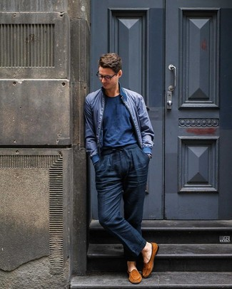 How to wear: tobacco suede loafers, navy linen chinos, navy crew-neck t-shirt, navy bomber jacket
