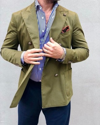 How to wear: burgundy print pocket square, navy chinos, white and blue vertical striped dress shirt, olive double breasted blazer