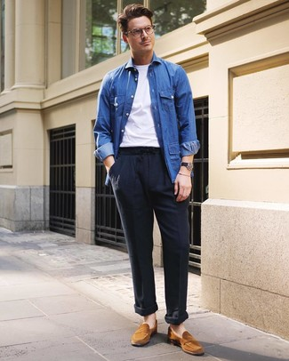 How to wear: tobacco suede loafers, navy linen chinos, white crew-neck t-shirt, blue denim shirt jacket