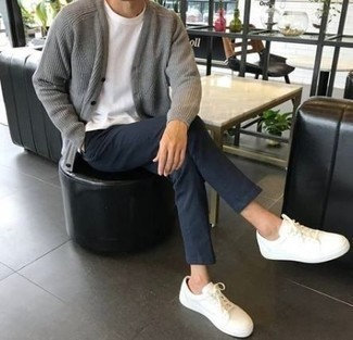 How to Wear Navy Chinos: Team a grey knit cardigan with navy chinos to feel instantly confident in yourself and look casually stylish. For a truly modern mix, add a pair of white low top sneakers to the equation.