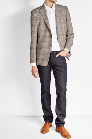 How to wear: tobacco leather derby shoes, navy chinos, white dress shirt, brown plaid blazer