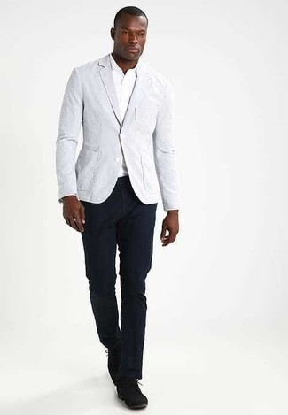 How to wear: black suede derby shoes, navy chinos, white long sleeve shirt, grey blazer