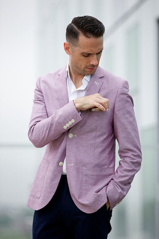 How to wear: beige pocket square, navy chinos, white long sleeve shirt, pink blazer